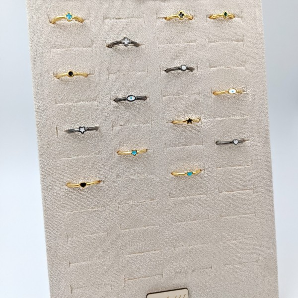 Σετ από 12 Δαχτυλίδια Velvet Display